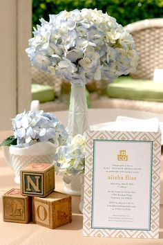 Vintage Chic Baby Boy Shower Idea for centerpieces.  Could spell Noah's name w/ the blocks