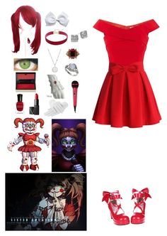 A fashion look from June 2017 featuring red v neck top, heart skirt and high heel court shoes. Browse and shop related looks. Costume Halloween, Fnaf Costume, Fnaf Cosplay, Baby Cosplay, Cosplay Diy, Casual Cosplay, Cosplay Outfits, Cosplay Costumes, Fandom Outfits