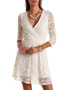 Embroidered Back Surplice Lace Dress #CharlotteRusse #CRFashionista #dress