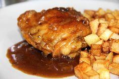 Contramuslo de pollo al horno con coca cola Coca Cola, Easy Diner, International Recipes, Bon Appetit, Tapas, Chicken Recipes, Pork, Food And Drink, Yummy Food