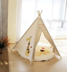 this is pretty insane  SOABE giraffe and tree teepee, kids teepee, teepee tent, play tent, kids toy, baby toy, toy, indian tent, outdoors, garden decor