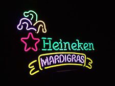 Heineken Mardi Gras Neon Beer Light Sign & Budweiser Miller Lite Pabst Coasters