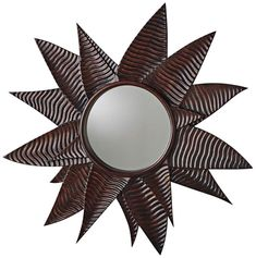 """Succulent Walnut 43 1/2"""" Oversize Round Wall Mirror - #32V19 