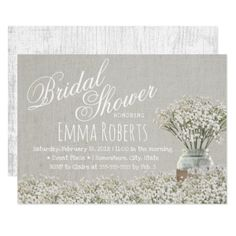 Rustic Baby's Breath Mason Jar Bridal Shower Card - invitations custom unique diy personalize occasions