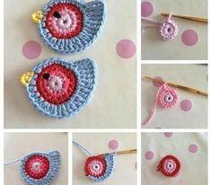 Risultati immagini per pajaritos tejidos al crochet Crochet Birds, Crochet Diy, Easter Crochet, Love Crochet, Crochet Motif, Crochet Crafts, Crochet Flowers, Crochet Stitches, Crochet Projects