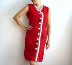 DRALONG French VIntage 60s Red Dress by bOmode on Etsy, $68.00