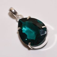 Fantastic Faceted Emerald Quartz .925 Silver Handmade Pendant Jewelry R1384 #Handmade