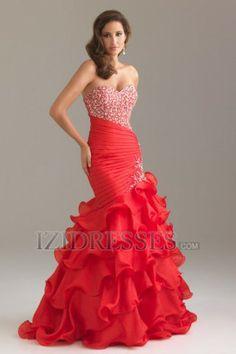 Trumpet/Mermaid Strapless Sweetheart Organza Evening dresses
