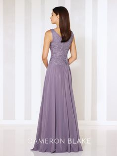 Sleeveless chiffon A-line gown with front and back V-necklines, ribbon work bodice with slight dropped waist, flyaway skirt. Matching shawl included. Sizes:4 – 20 Colors:Heather, Rose, Dark Raspberry, Navy Blue, Persian Blue
