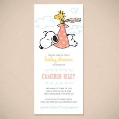 Snoopy and Woodstock Stork Cute Baby Shower Invitation by ohmymia