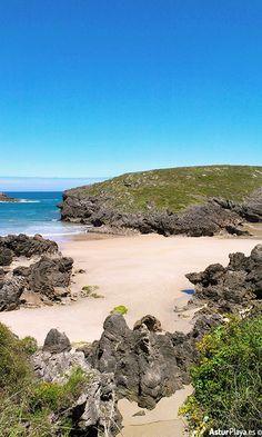 Sorraos or Xorraos beach in Llanes, Asturias - it's hidden behiind the more popular Barro beach so it's a good place to hide!