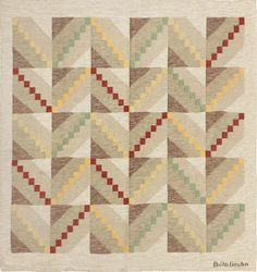 Vintage Swedish Rug designed by Brita Grahn, circa mid-20th century | In the design, a series of rectangular spaces are diagonally bifurcated from opposing corners, creating a series of V shapes, reminiscent, perhaps, of downward pointing arrowheads