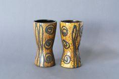 WEST GERMAN POTTERY Vase Pair Scheurich 244 17 by CurialVintage
