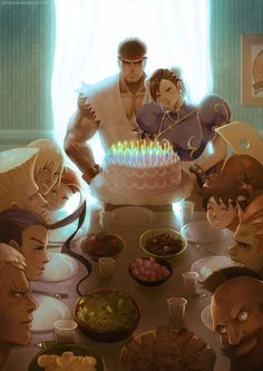 This is my submission for the Street Fighter Anniversary Art Tribute. This is also a tribute to Norman Rockwell's famous Thanksgiving Dinner painting . I love his work! I hope you like it. Comics Illustration, Illustrations, Street Fighter Tekken, Street Fighter Characters, Kasugano, Super Street Fighter, Arte Dc Comics, Chun Li, King Of Fighters