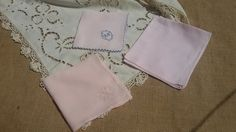 Lovely set of 3 #pink French hankies .  2 Cotton and 1 linen made.  Monogram, Butterfly embroidered and one…