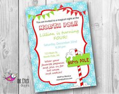 North Pole Birthday Party Invitation  Printable by InkChickDesigns