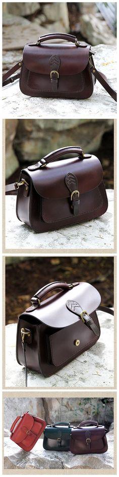 LISABAG--Handcrafted Leather Messenger Handbag Leather Shoulder Bag Small Satchel in Coffee AK04 - brands designer handbags, handbags from us, designer brand handbags