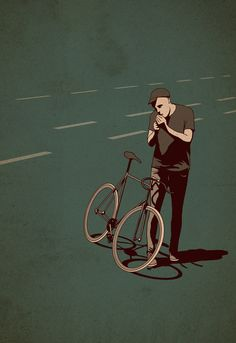 smoking fixie bicycle by Adams Carvalho