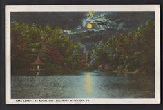 LAKE LENAPE By Moonlight DELAWARE WATER GAP PENNSYLVANIA PA Postcard 1925