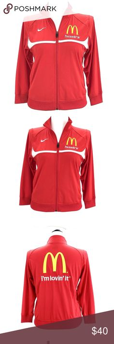 """Nike Mcdonald's Track Suit Jacket Employee Zip Up Nike Mcdonald's Track Suit Jacket Red Yellow Employee Zip Up  CONDITION: Very good preowned condition with normal signs of light use. No major flaws or imperfections. No stains, holes or heavy wear. May show light signs of wash and wear. All wear is typical of a gently worn preowned item. Please see all photos as a visual description of the item.  APPROXIMATE MEASUREMENTS:  CHEST(pit to pit): 20""""  SHOULDER TO SHOULDER: 14.5'' SLEEVE LENGTH…"""