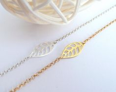 Items similar to Sterling Silver Leaf Bracelet, Dainty Leaf Bracelet, Simple Silver Gold Bracelet, Thin Chain Bracelet, 925 Sterling Silver Jewelry on Etsy Simple Bracelets, Jewelry Bracelets, Necklaces, Jewellery, Thin Chain, Engraved Rings, Dainty Necklace, Sterling Silver Jewelry, Silver Rings