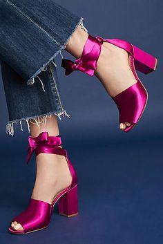 Sam Edelman Odele pink satin peeptoe heels at Anthropologie. LOVE the vintage vibe and ankle bows! Sam Edelman Odele pink satin peeptoe heels at Anthropologie. LOVE the vintage vibe and ankle bows! Peeptoe Heels, Shoes Heels, Hot Shoes, Pink Shoes, Magenta Heels, Hot Pink Heels, Pretty Shoes, Beautiful Shoes, Rosa Satin
