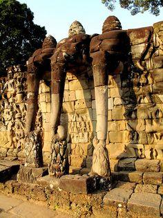 Terrace of the Leper King - Elephant Trio, Angkor Thom, Cambodia