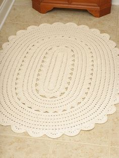 """Handmade Crochet Oval Doily Rug """"ALICIA""""- Off White - Oval 50"""" x 36"""" / 128cm x 92cm now available at Henna's Boutique on Etsy.com"""