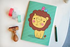 DIN A5 - Notizheft Löwe - ein Designerstück von Tante_Tin bei DaWanda