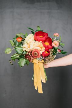 The 2015 Edit. Soft yellows and color blocking bouquets.