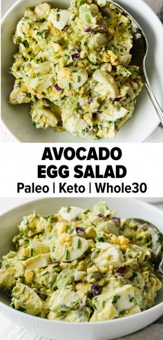 This avocado egg salad is paleo, keto, low carb, and Whole30 friendly. It's a spin on your classic egg salad recipe and adds healthy avocado for a creamy, nutritious new recipe you're sure to love. #paleorecipes #ketorecipes #whole30recipes #eggsalad #BestNutritionFood Keto Egg Salad, Easy Egg Salad, Avocado Egg Salad, Eggs And Avacado, Avocado Egg Breakfast, Low Carb Egg Salad Recipe, Breakfast Frittata, Healthy Egg Breakfast, Avocado Dessert