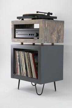 Vinyl Shelf, Vinyl Record Storage, Modern Rustic, Mid-century Modern, Rustic Style, Record Player Stand, Vinyl Record Player, Vinyl Records, Living Furniture