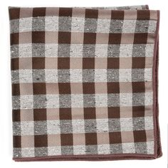 SPLATTERED GINGHAM POCKET SQUARES - BROWN | Ties, Bow Ties, and Pocket Squares | The Tie Bar