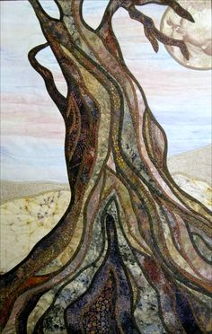 """""""Reaching"""" by  Doria A. Goocher, San Diego.  A quilted tribute to Calaveras Big Trees State Park. Inspiration: Trees that look like they are reaching toward the heavens."""