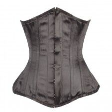 Long Black Satin Underbust with Hip Gores