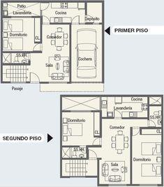 Plano de casa de dos plantas y tres dormitorios con
