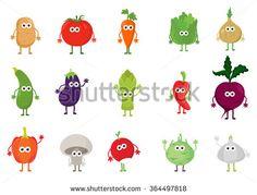Vector set of cute cartoon vegetable characters. Food cartoon characters concept. Funny kawaii vegetables for kids.