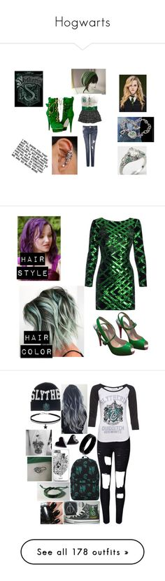 """""""Hogwarts"""" by skittlesrocker ❤ liked on Polyvore featuring Nissa Jewelry, Christian Louboutin, Hot Topic, WithChic, West Coast Jewelry, Warner Bros., Jimmy Choo, Witchery, Fallon and art"""