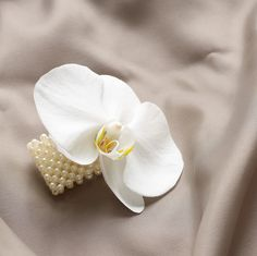 This simple yet stunningly pretty white orchid makes a delightful accessory, either for bridesmaids or for the bride. Worn as a bracelet corsage, this is a modern way to add a dash of natural glamour to her special outfit.