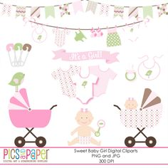Sweet Baby Girl - adorable graphics for scrapbooking, baby shower invitations, card making and more.