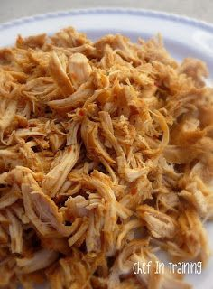Shredded Chicken Ranchero:  ***** 2 lbs chicken breasts 1/2 a small bottle of zesty Italian dressing 1/2 Tbsp. minced garlic 1 pkt ranch dressing mix (mixed with 1/2 cup of water) 1/2 Tbsp. chili powder 1/2 Tbsp. ground cumin Place all ingredients in a crock pot. Cook on High 5-6 hours OR on Low 8 hours. Shred with fork and serve in salads, burritos, tacos...etc. You can also double or triple this to make extras for freezing. Then simply thaw and reheat for a fast and delicious meal.
