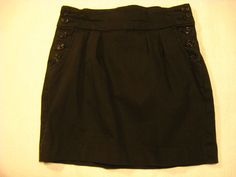 Mini Skirt Size 2 BDG Black STRETCH Buttons Pleated Front Womens Misses Cruise #Pleated