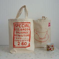 Satuday Morning screenprint shopper tote bag orange by MrPS, $19.00