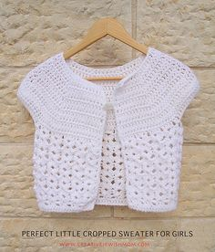 Crocheted Cropped Sweater For Girls