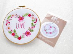 #Flowers Embroidery Pattern, Pink Roses Hoop Art Kit, Love Heart Embroidery Set, Modern Needlecraft Pattern, Daisy Chain Embroidery Kits #hygge #embroidery #hoopart #handmade #etsy #needlework #crafts #relax #mindfulness #giftideas #giftforher #crafting #needlecraft #mothersday #giftsformum #mothersdaygifts