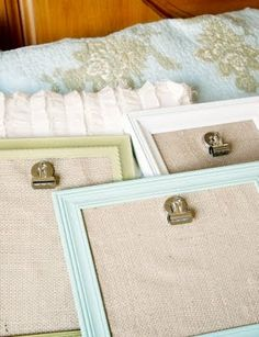 I like this idea of painting frames, adding a burlap background, and hot gluing a clip so you can change the pictures.