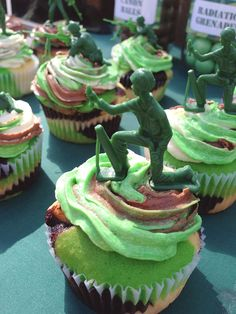 Camo Army Birthday Party Cupcakes