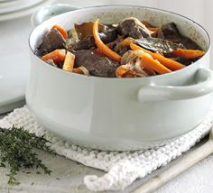 Beef with red wine & carrots recipe - For making italian cottage pie Recipes - BBC Good Food Carrot Recipes, Beef Recipes, Cooking Recipes, Healthy Recipes, Cooking Videos, Bbc Good Food Recipes, Easy Dinner Recipes, Easy Meals, Dinner Ideas