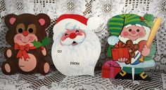 VTG 3 Unused LARGE Xmas Gift Package Greeting Tags Cards Santa Bear Elf W/ Toys in Collectibles, Paper, Vintage Greeting Cards | eBay