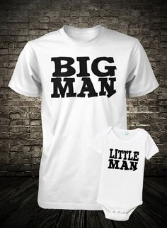 Father and Son Shirt Set Big Man Little Man Shirt and onesie baby boy gender reveal nursery